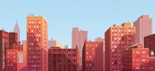 Sunset cityscape. Vector illustration.