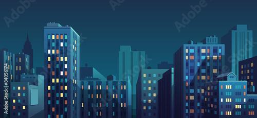 Sticker Night cityscape. Vector illustration.