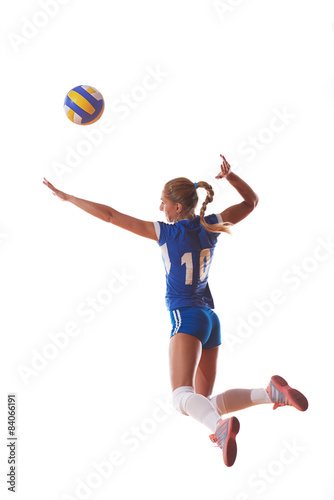 Poster volleyball woman jump and kick ball isolated on white background