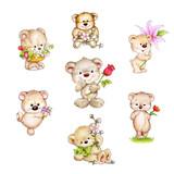 Fototapety Set of cute Teddy bear with flowers