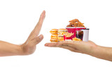 Hand refusing junk food