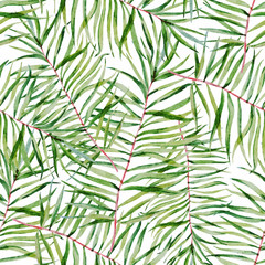 Watercolor tropical leafs pattern