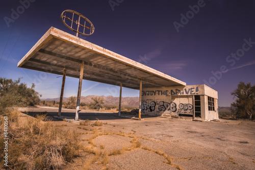 Abandoned gas station, Az,CA desert Poster