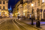 Rynok Square in Lviv at night - 84120106
