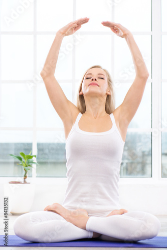 Yoga concept with young woman Plakát