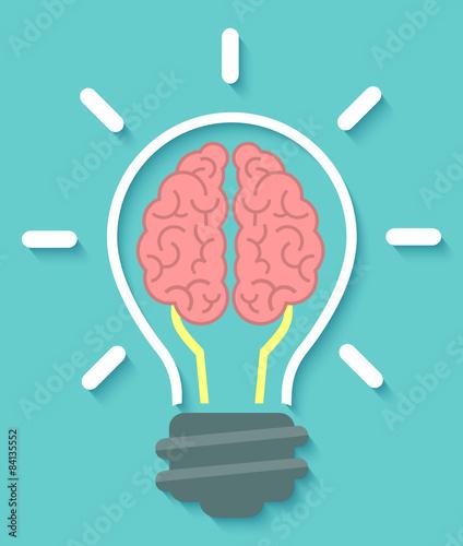 Brain idea icon on blue background © vectorikart
