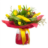 Bouquet of yellow tulips. - 84140918