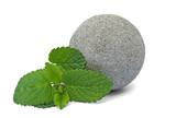 Graue Steinkugel mit Melisse