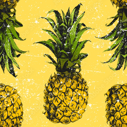 Hand drawn pineapple seamless - 84146552