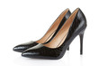 High heel black crocodile shoes pair on white, clipping path