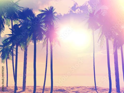 Papiers peints Beige Summer retro palm trees