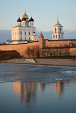 Pskov Krom at hte sunset. Old Russian architecture. poster