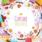 Fototapety Sweet cupcakes background. Colorful illustration.