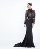 Sensual woman black long dress