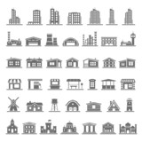 Fototapety Black Icons - Buildings