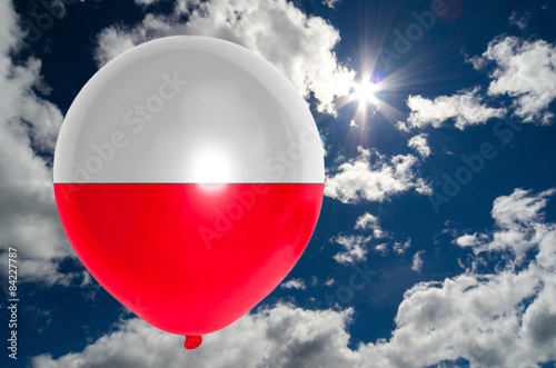 Obraz na płótnie balloon with flag of poland on sky