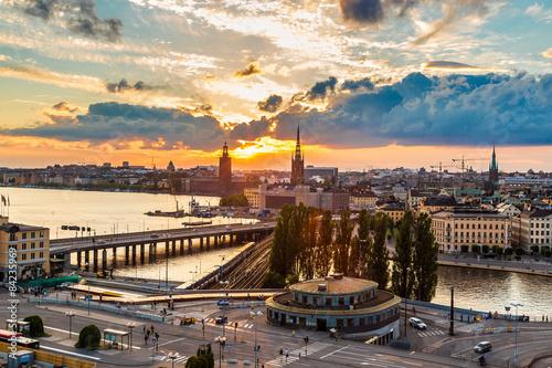 Keuken foto achterwand Antwerpen Scenic summer night panorama of Stockholm, Sweden