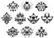 Black damask flower blossoms and patterns