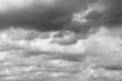 Storm sky, rainy clouds over horizon.