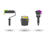 Painting tools set with roller, bucket and brush