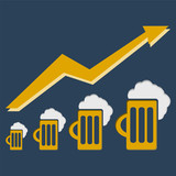 Pictograph of graph, mug of beer poster