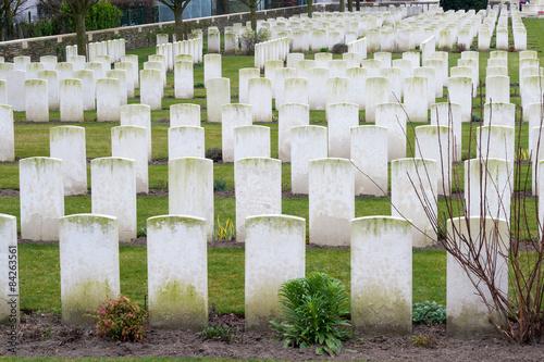 Poster cemetery fallen soldiers in World War I Flanders Belgium
