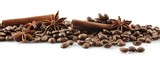 Fototapety Scattered coffee beans in line on white