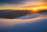 High mountain during sunrise. Beautiful natural landscape