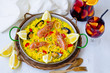 Obrazy na płótnie, fototapety, zdjęcia, fotoobrazy drukowane : Spanish Cuisine. Paella and fresh sangria.