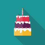 Fototapety Birthday Cake Flat Icon with Long Shadow, Vector Illustration