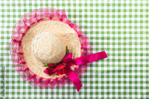 Straw Hat on the table (Festa Junina Theme) Poster