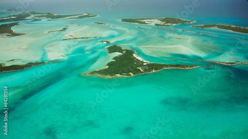 Papiers peints Nautique motorise Inselwelt der Bahamas aus dem Flugzeug