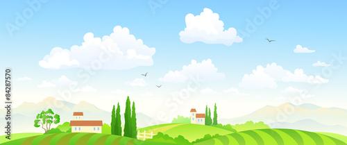 Fotobehang Boerderij Summer fields banner