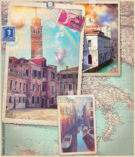 Staande foto Imagination Vintage postcards and collage of Venice city