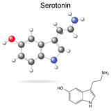 Model and chemical formula of serotonin
