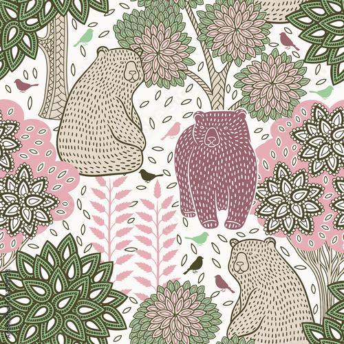 Materiał do szycia Autumn forest seamless pattern