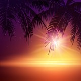 Fototapety Summer Night. Palm trees  in the night. Vector illustration