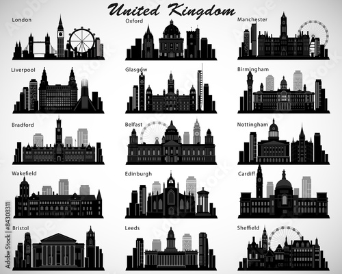 Britain's cities skylines set. Vector silhouettes. UK