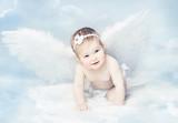 Baby Angel Wings, Angelic Cupid Kid, Child at Blue Sky Cloud - Fine Art prints