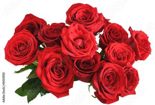 Zdjęcia na płótnie, fototapety, obrazy : above view bouquet of red roses isolated