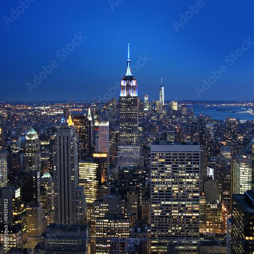 Fototapeta New York City panorama by night