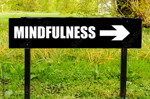 Poster MINDFULNESS written on directional black metal sign