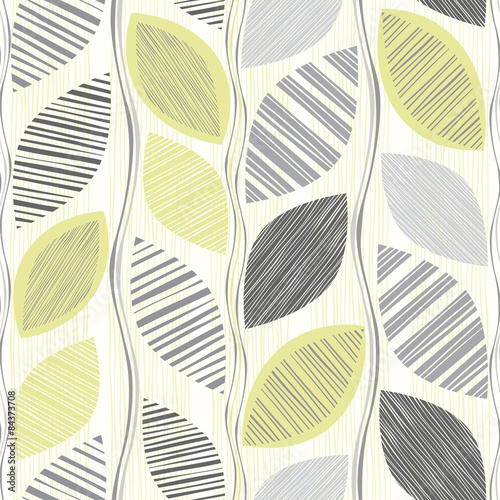 Seamless pattern of abstract leaves. © maritime_m