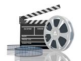 Fototapeta 3d illustration of cinema clap and film reel, over white