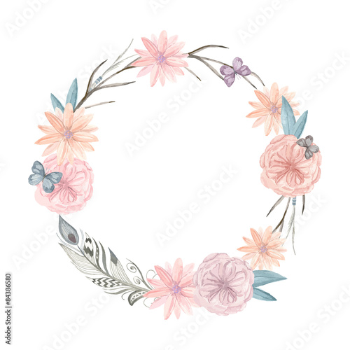 Watercolor floral wreath. It can be used for greeting cards, pos - 84386580