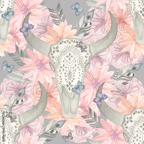 Ethnic seamless pattern. Skull bull in flowers - 84386728