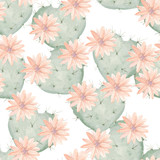 Seamless watercolor pattern of flowering cactus as heart