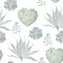 Watercolor cactus afdruk. naadloos patroon
