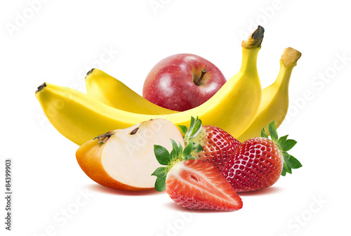 Banana, apples and strawberry 3 isolated on white background