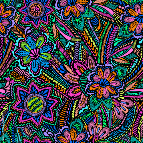 Embroidery floral design ~ seamless background